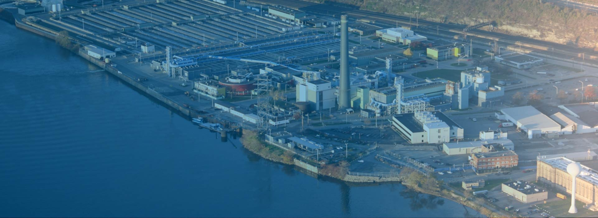 Aerial of the ALCOSAN plant along the river