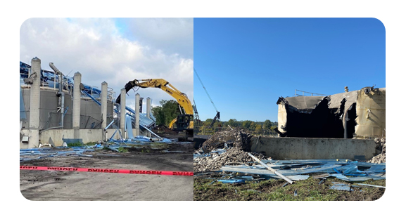 Sodium Hypochlorite Building razed