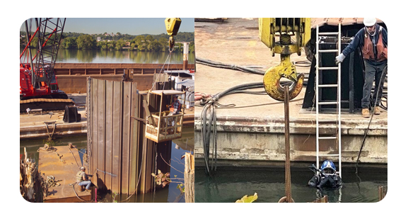 ALCOSAN Construction Demo Moorings and Diver entering river